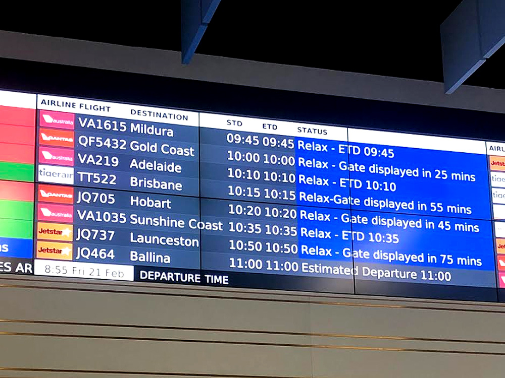Departure board at airport